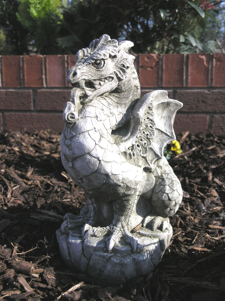 Scaly Dragon Stone Garden Ornament Statue 2999 Garden4Less