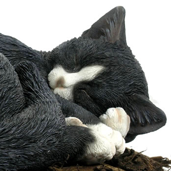 Nice Extra Image Of Sleeping Black And White Cat   Resin Garden Ornament ...