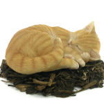 Image of Sleeping Ginger Cat - Resin Garden Ornament
