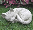 Sleeping Cat Stone Garden Ornament
