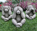 Three Monkeys Stone Garden Statue