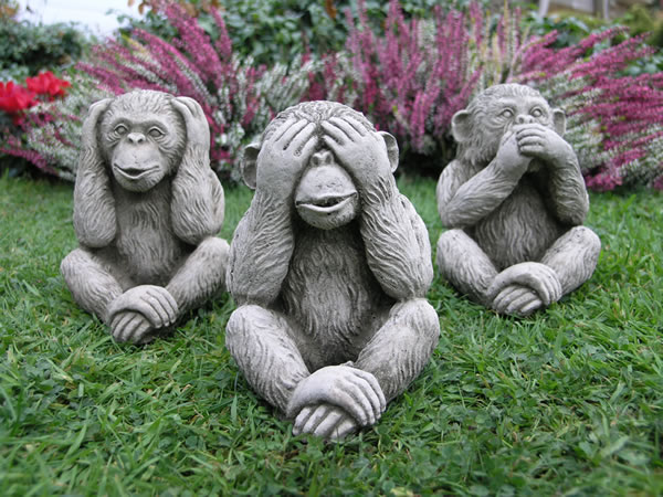 Granite Lawn Ornaments : Three monkeys stone garden statue £ less