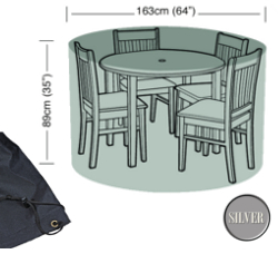 Image of Circular Furniture Cover (4 Seater) - Garland Silver W1392 (Black)