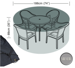 Image of Circular Furniture Cover (4 to 6 Seater) - Garland Silver W1396 (Black)