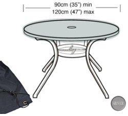 Image of Circular Table Top Cover (4-6 Seater) - Garland Silver W1368 (Black)