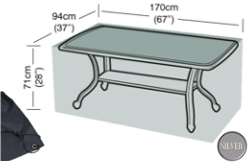 Image of Rectangular Table Cover (6 Seater Table) - Garland Silver W1376 (Black)