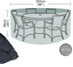 Image of Circular Furniture Cover (6 to 8 Seater) - Garland Silver W1400 (Black)