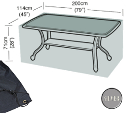 Image of Rectangular Table Cover (8 Seater Table) - Garland Silver W1380 (Black)