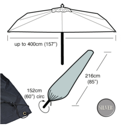 Image of Garden Parasol Cover (Ex Large Parasol Cover) - Garland Silver (Black)