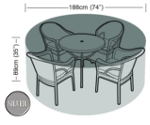 Small Image of Circular Furniture Cover (4 to 6 Seater) - Garland Silver W1396 (Black)