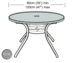 Small Image of Circular Table Top Cover (4-6 Seater) - Garland Silver W1368 (Black)