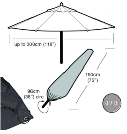 Image of Garden Parasol Cover (Large Parasol Cover) - Garland Silver (Black)