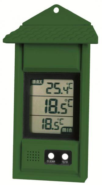 Image of Simplicity Greenhouse Thermometer with max/min function Green