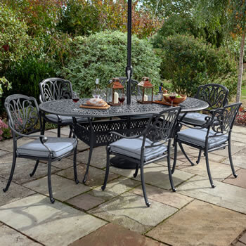 Image of Hartman Amalfi 6 Seater Oval Dining Set in Antique Grey / Platinum - NO PARASOL