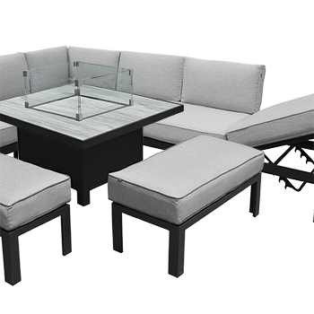 Image of Hartman Apollo Comfort Corner Sofa Set with Fire Pit Table in Carbon