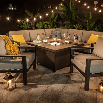 Image of Hartman Apollo Square Corner Sofa Set With Lounge Chairs and Fire Pit Table in Carbon/Pewter