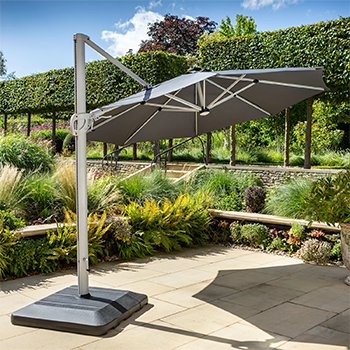 Image of Hartman Caribbean Round Cantilever Parasol with Solar Powered Lights - Dark Grey