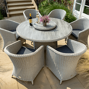 Image of Hartman Henley 6 Seat Round Set with Lazy Susan in Aspen/Slate