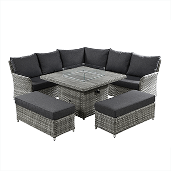 Image of Hartman Heritage Grand Square Corner Sofa Set with Gas Fire Pit Table in Ash/Slate