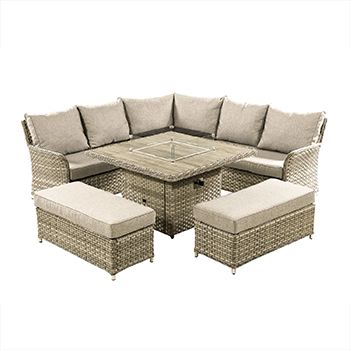 Image of Hartman Heritage Grand Square Corner Sofa Set with Gas Fire Pit Table in Beech/Dove