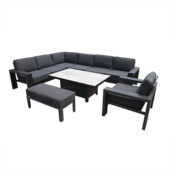Image of Hartman Titan Rectangular Corner Sofa Set with Adjustable Table in Carbon/Nebula