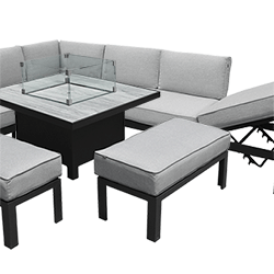 Small Image of Hartman Apollo Comfort Corner Sofa Set with Fire Pit Table in Carbon