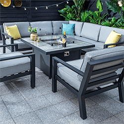 Extra image of Hartman Apollo Square Corner Sofa Set With Lounge Chairs and Fire Pit Table in Carbon/Pewter