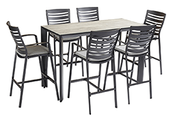 Small Image of Hartman Aurora 6 Seater Bar Set in Carbon / Pewter