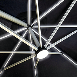 Extra image of Hartman Caribbean Round Cantilever Parasol with Solar Powered Lights - Dark Grey