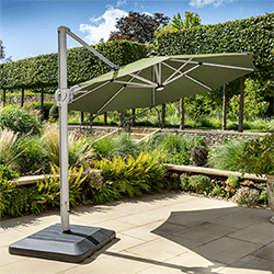 Small Image of Hartman Caribbean Round Cantilever Parasol with Solar Powered Lights - Moss Green