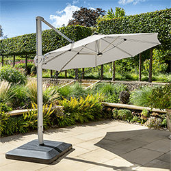 Small Image of Hartman Caribbean Round Cantilever Parasol with Solar Powered Lights - Natural
