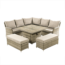 Small Image of Hartman Heritage Grand Square Corner Sofa Set with Gas Fire Pit Table in Beech/Dove