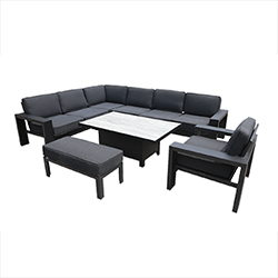 Small Image of Hartman Titan Rectangular Corner Sofa Set with Adjustable Table in Carbon/Nebula