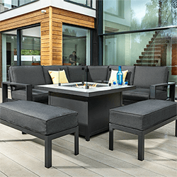 Small Image of Hartman Titan Square Corner Sofa Set with Fire Pit Table in Carbon/Nebula
