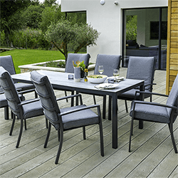 Small Image of Hartman Vienna 8 Seat Rectangular Dining Set in Xerix / Slate