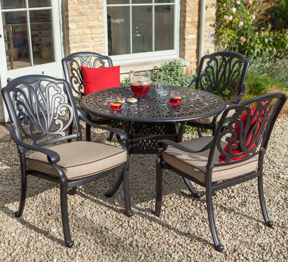 ... Extra Image Of Hartman Amalfi 4 Seater Round Set In Bronze With Fawn  Cushions ...
