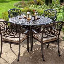 Small Image of Hartman Amalfi 4 Seat Dining Set - NO PARASOL -  Bronze / Amber