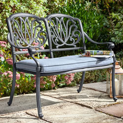 Small Image of Hartman Amalfi 2 Seater Bench in Antique Grey / Platinum