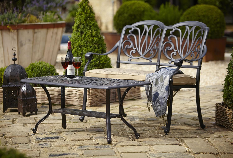 Amalfi Cast Aluminium Rectangular Garden Coffee Table 163