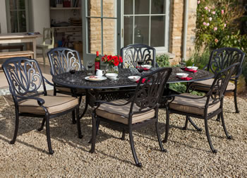 Image of Hartman Amalfi 6 Seater Oval Set in Bronze/Fawn WITHOUT PARASOL