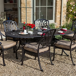 Small Image of Hartman Amalfi 6 Seater Oval Set in Bronze/Fawn WITHOUT PARASOL
