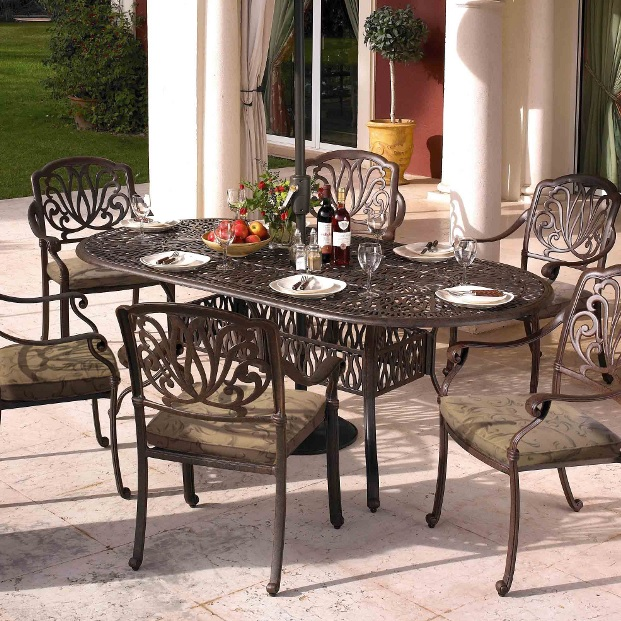 Image of Hartman Amalfi 6 Seater Oval Set in Bronze WITHOUT PARASOL