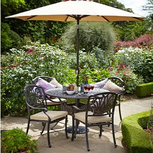 Image Of 2017   Hartman Amalfi 4 Seat Round Set In Bronze With Floral  Cushions