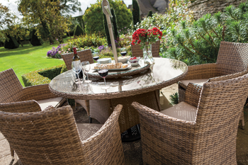 Extra image of Hartman Appleton 6 Seat Round Dining Set in Bark / Sand - NO PARASOL