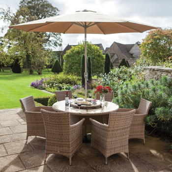Image of Hartman Appleton 6 Seat Round Dining Set in Bark / Sand - NO PARASOL