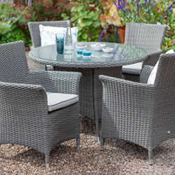 Small Image of Hartman Appleton 4 Seat Round Dining Set in Slate / Stone - NO PARASOL