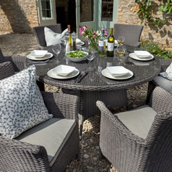 Extra image of Hartman Appleton 6 Seat Round Dining Set with Lazy Susan in Slate / Stone