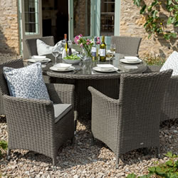 Small Image of Hartman Appleton 6 Seat Round Dining Set with Lazy Susan in Slate / Stone