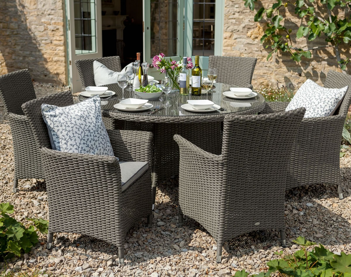 Image of Hartman Appleton 6 Seat Round Dining Set with Lazy Susan in Slate / Stone