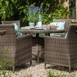 Small Image of Hartman Bali Weave 4 Seater Dining Furniture Set